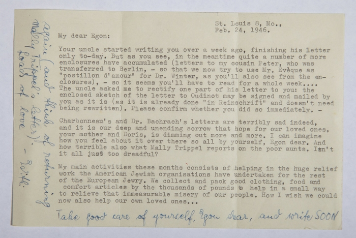 "Letter from Edith to Egon: ""Hope is dimming..\""."