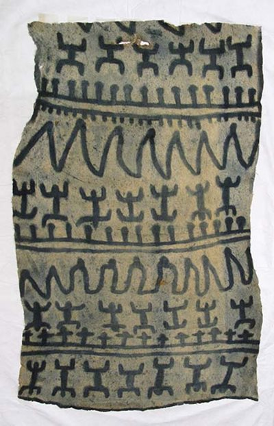 Bark cloth from the Solomon Islands dyed with pau, a dye derived from wild indigo.