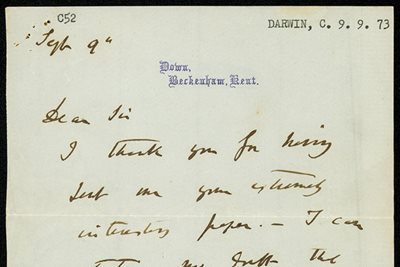 Detail of correspondence from Charles Darwin to Thomas Cheeseman, 1873.